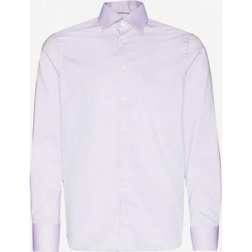 イートン ETON メンズ シャツ トップス【Herringbone contemporary-fit cotton shirt】Purple
