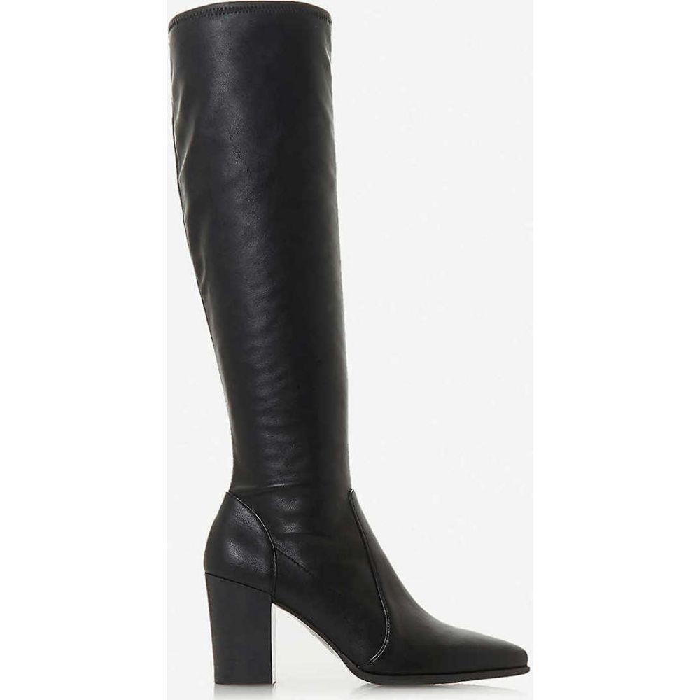 デューン DUNE レディース ブーツ シューズ・靴【Sadee heeled faux-leather knee-high boots】BLACK-SYNTHETIC