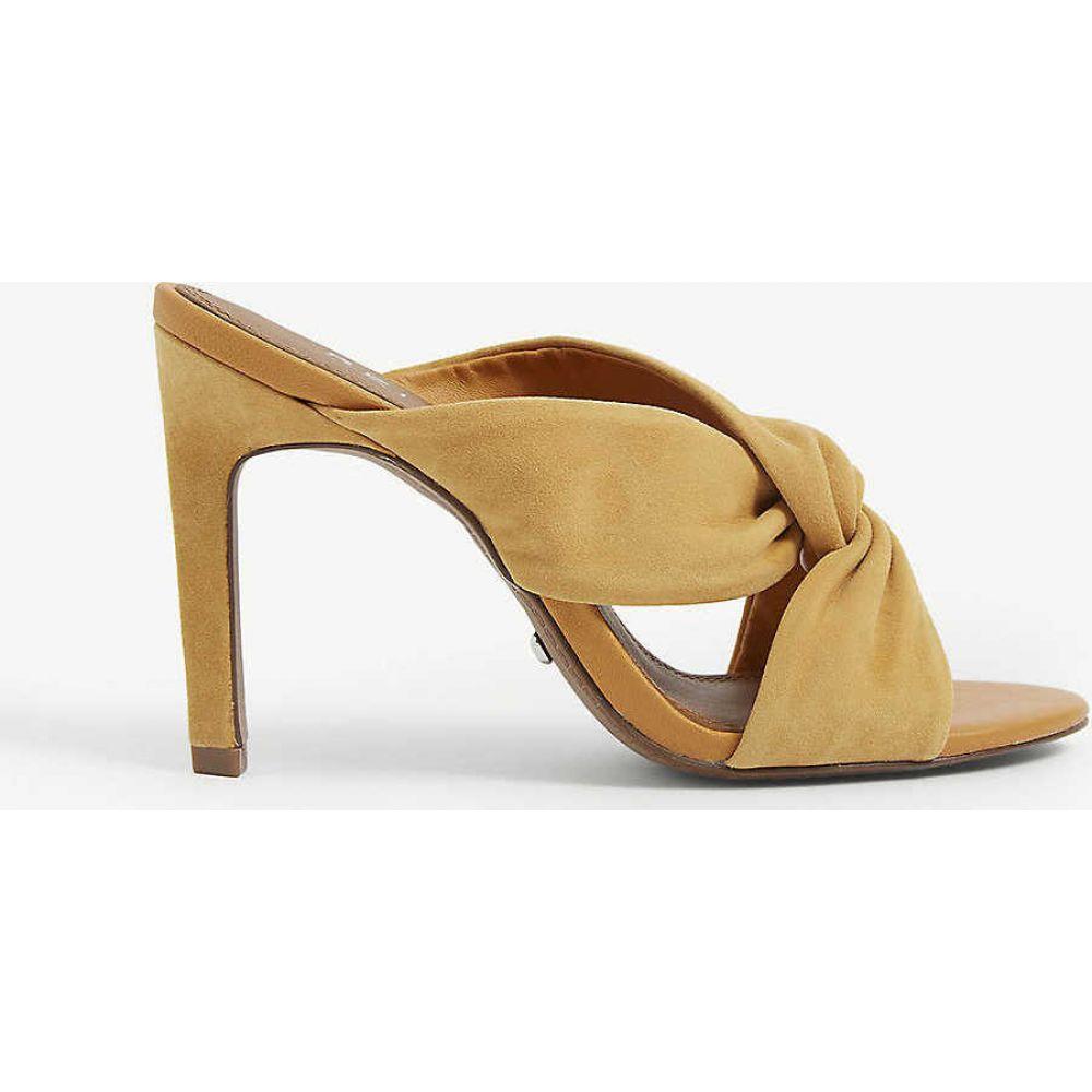 リース REISS レディース サンダル・ミュール シューズ・靴【Ella leather twist front heeled mules】LIGHT TAN