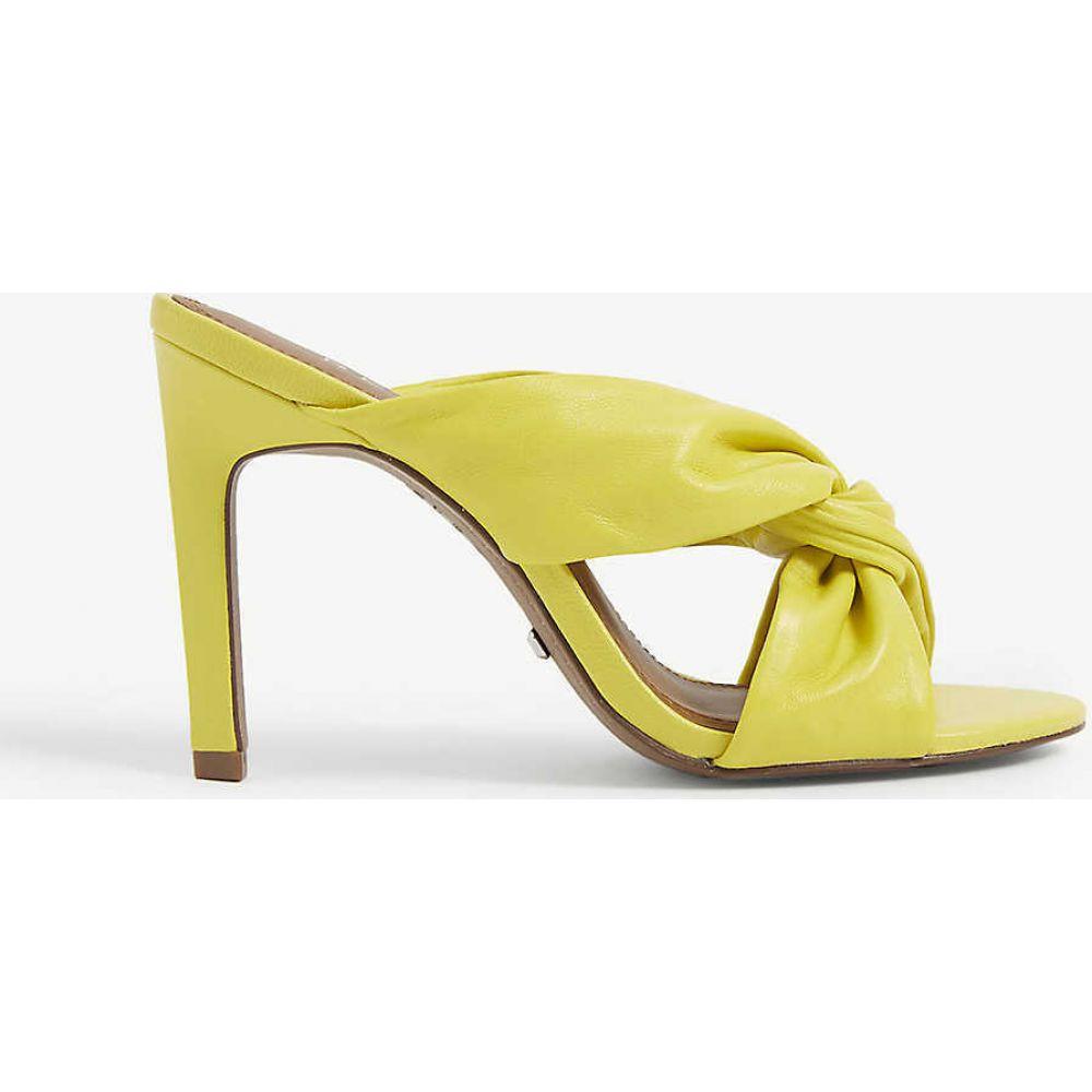 リース REISS レディース サンダル・ミュール シューズ・靴【Ella leather twist front heeled mules】YELLOW