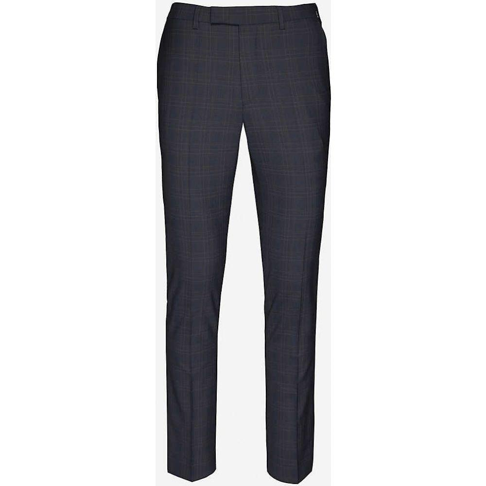 リース REISS メンズ ボトムス・パンツ 【Roody check stretch-woven trousers】NAVY