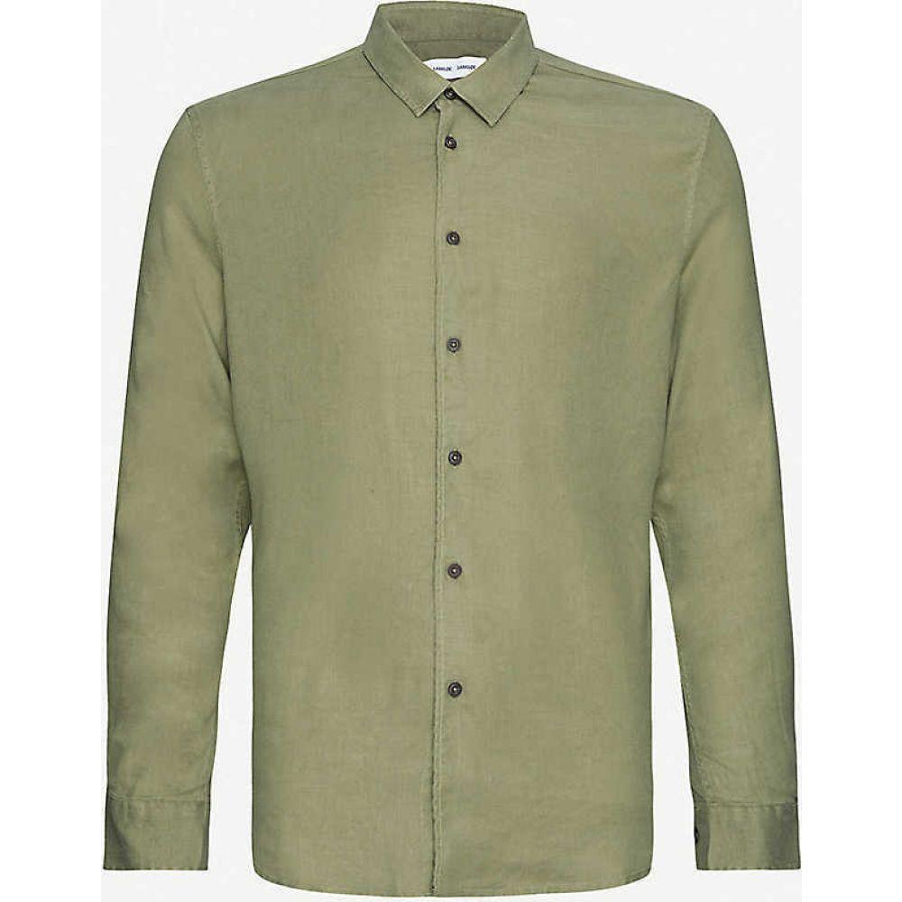 サムソエ&サムソエ SAMSOE & SAMSOE メンズ シャツ トップス【Liam relaxed-fit linen-blend shirt】DEEP LICHEN GREEN