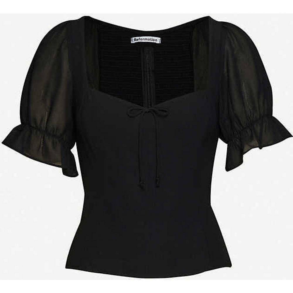 リフォーメーション REFORMATION レディース ブラウス・シャツ トップス【Delevan puffed-sleeve crepe blouse】BLACK