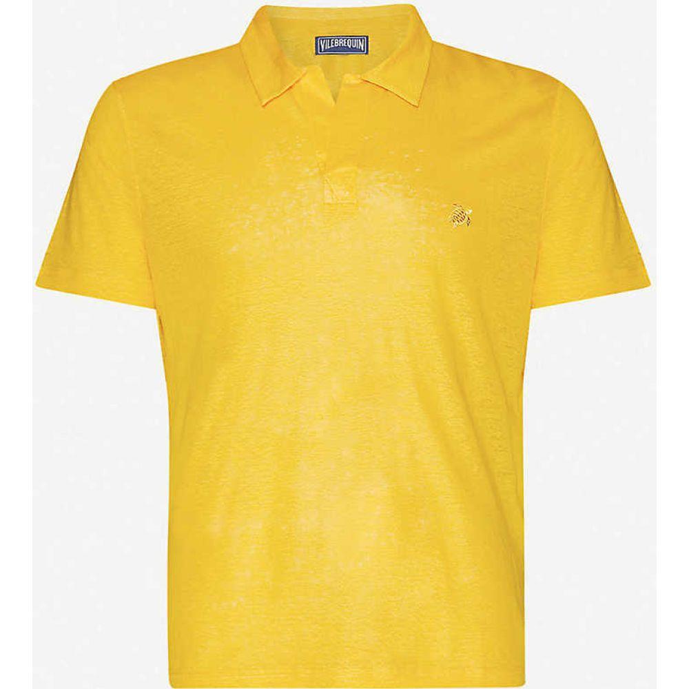 ヴィルブレクイン VILEBREQUIN メンズ ポロシャツ トップス【Embroidered-logo linen polo shirt】CURRY