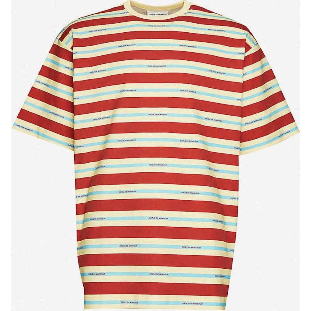 ドロール ド ムッシュ DROLE DE MONSIEUR メンズ Tシャツ トップス【Striped brand-print relaxed-fit cotton-jersey T-shirt】Red Stripe