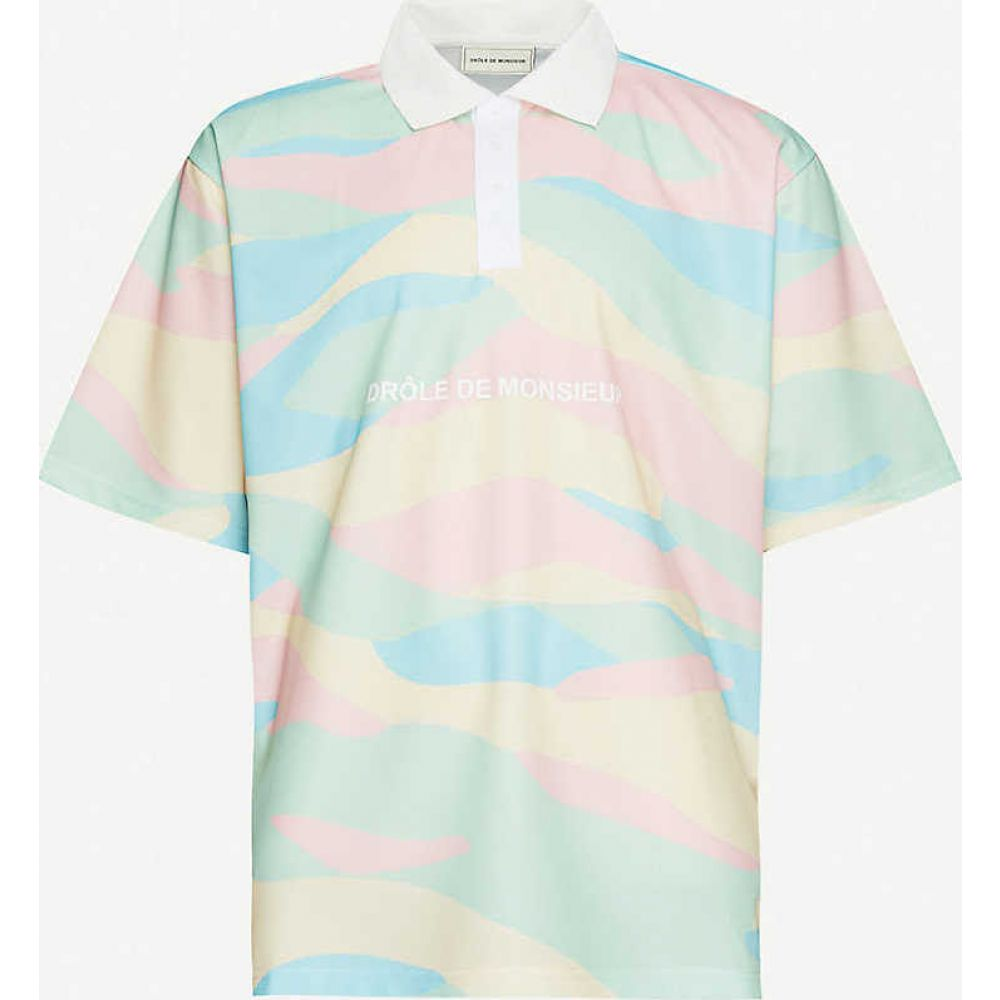 ドロール ド ムッシュ DROLE DE MONSIEUR メンズ ポロシャツ トップス【Graphic-print stretch-jersey polo shirt】Multicolor