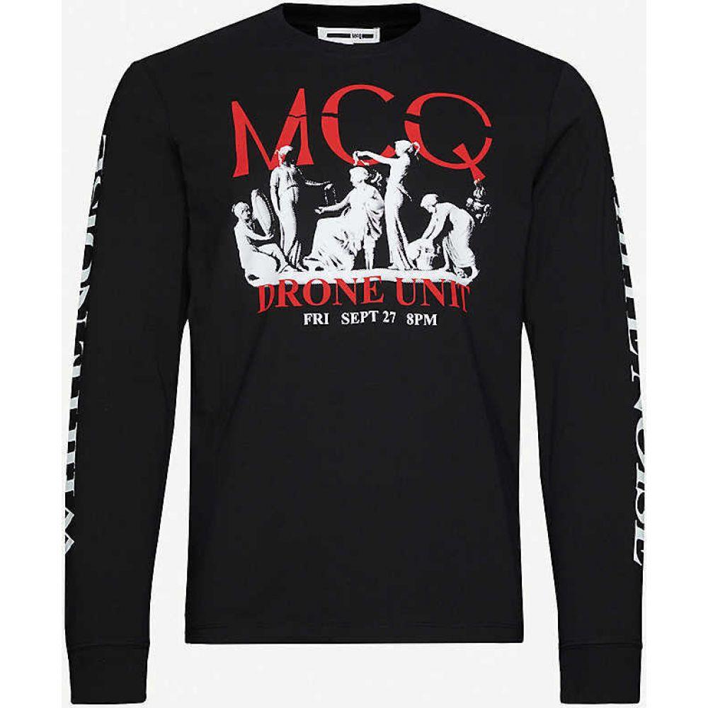 アレキサンダー マックイーン MCQ ALEXANDER MCQUEEN メンズ 長袖Tシャツ トップス【Graphic-print cotton-jersey T-shirt】DARKEST BLACK