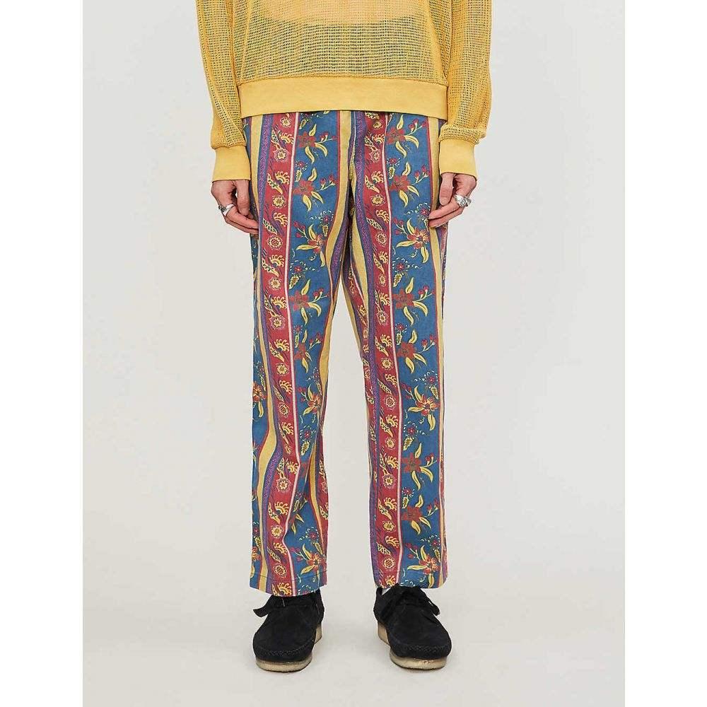 ステューシー STUSSY メンズ ボトムス・パンツ 【Floral striped-pattern tapered high-rise cotton trousers】Navy