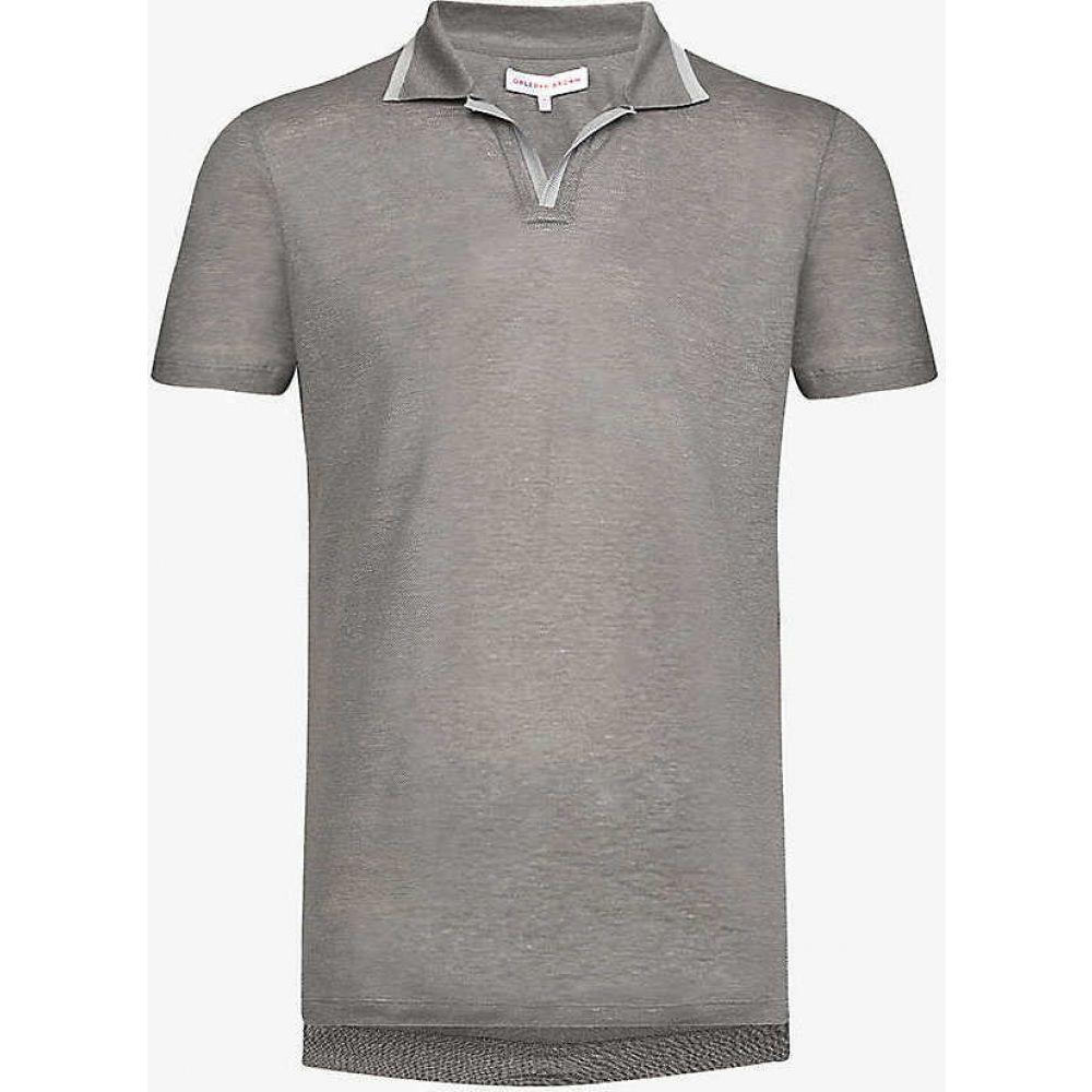 オールバー ブラウン ORLEBAR BROWN メンズ ポロシャツ トップス【Felix linen-pique polo shirt】Granite/alloy