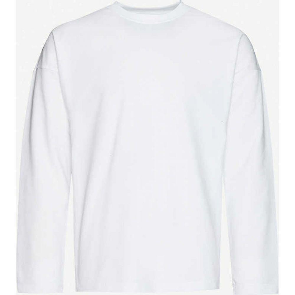 ラフ シモンズ RAF SIMONS X FRED PERRY メンズ 長袖Tシャツ トップス【Raf Simons x Fred Perry graphic-print cotton-blend T-shirt】White