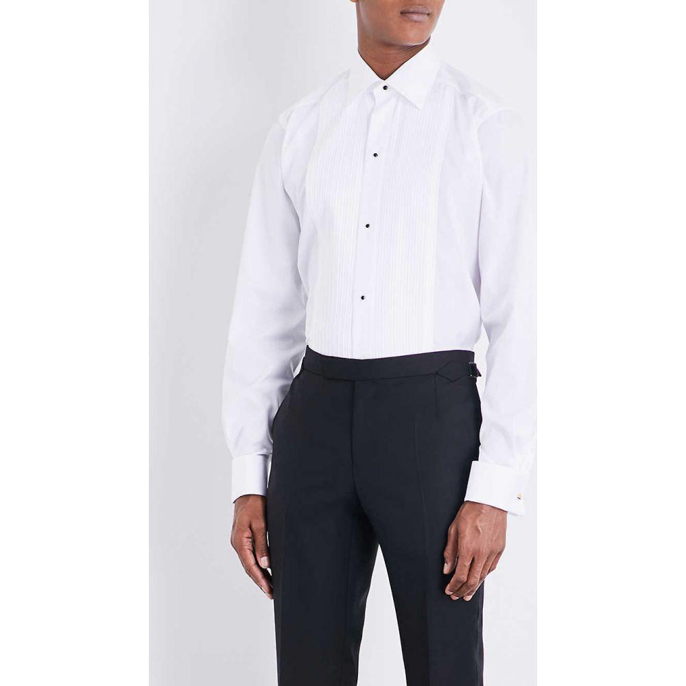 イートン ETON メンズ シャツ トップス【Plisse slim-fit double-cuff cotton shirt】White