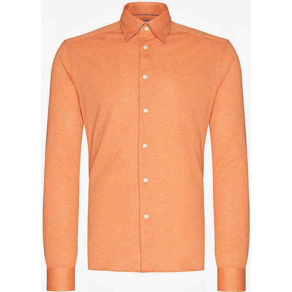 イートン ETON メンズ シャツ トップス【Regular-fit cotton-pique shirt】Yellow/Orange
