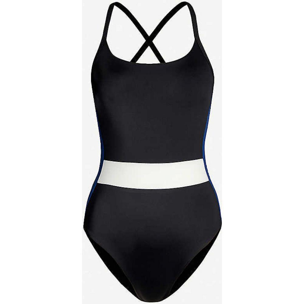 ステイワイルドスイム STAY WILD SWIM レディース ワンピース 水着・ビーチウェア【Open-back contrast-panel swimsuit】BLACK BLACK
