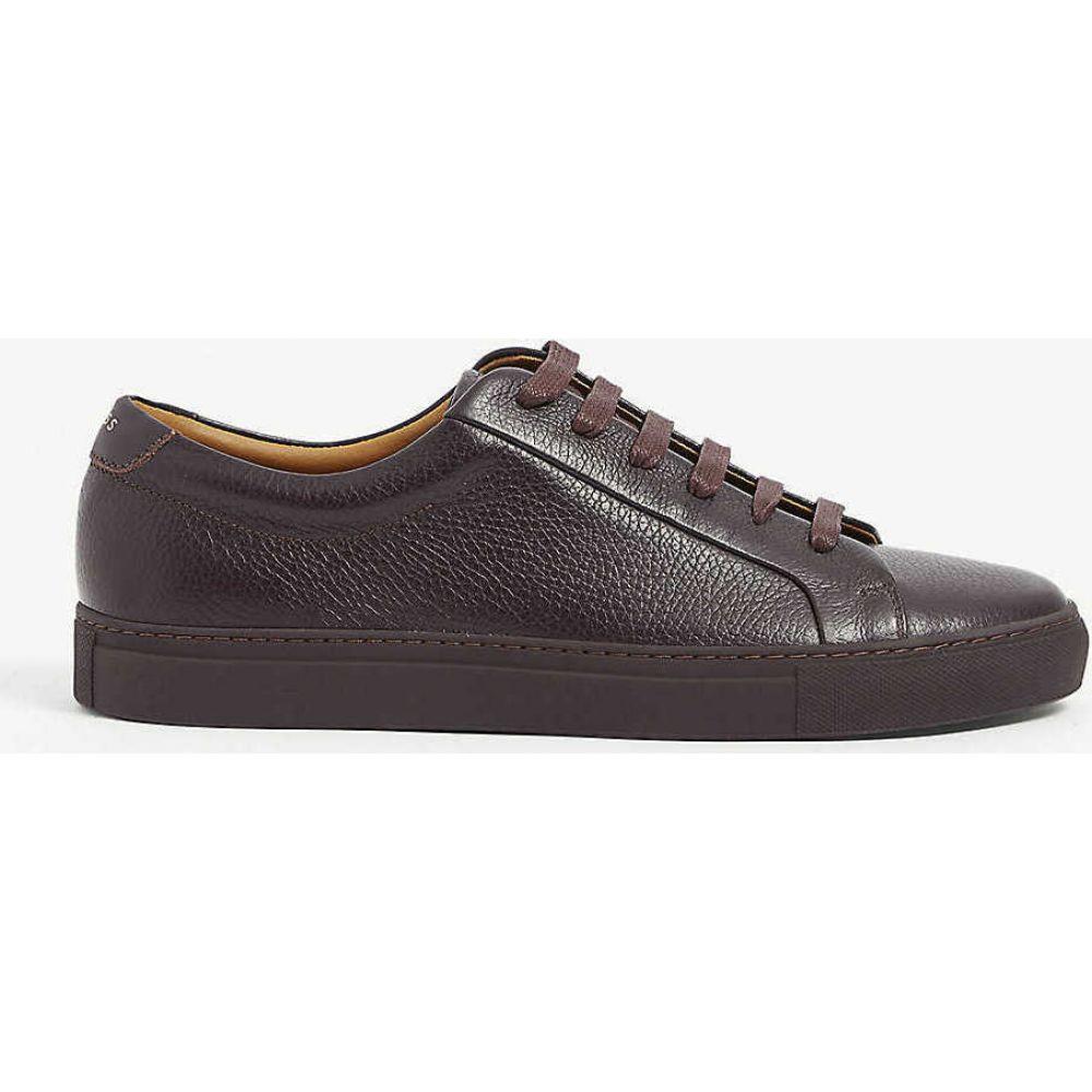 リース REISS メンズ スニーカー シューズ・靴【Luca tumbled leather trainers】BORDEAUX