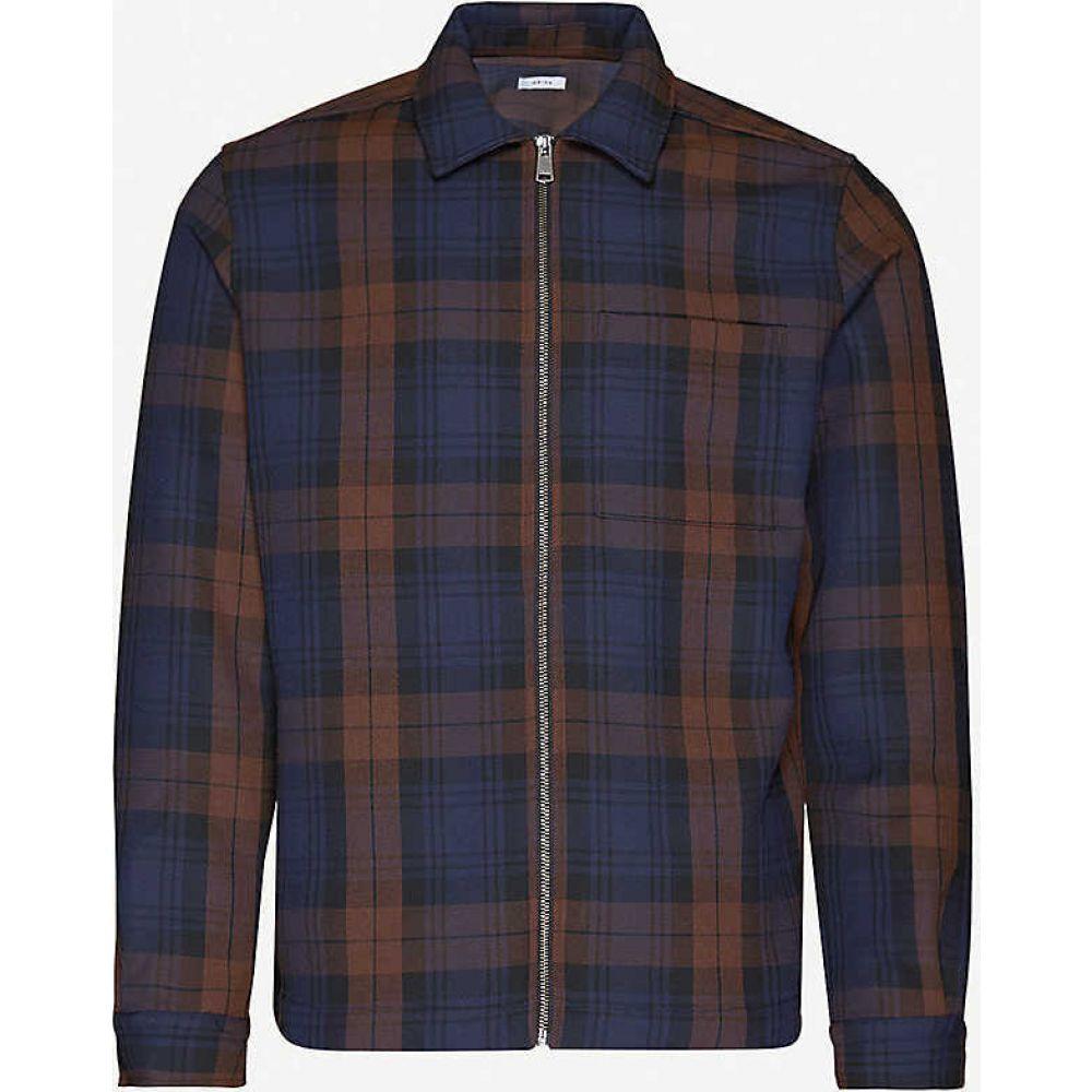 リース REISS メンズ ジャケット オーバーシャツ アウター【Etzio zipped woven overshirt】NAVY