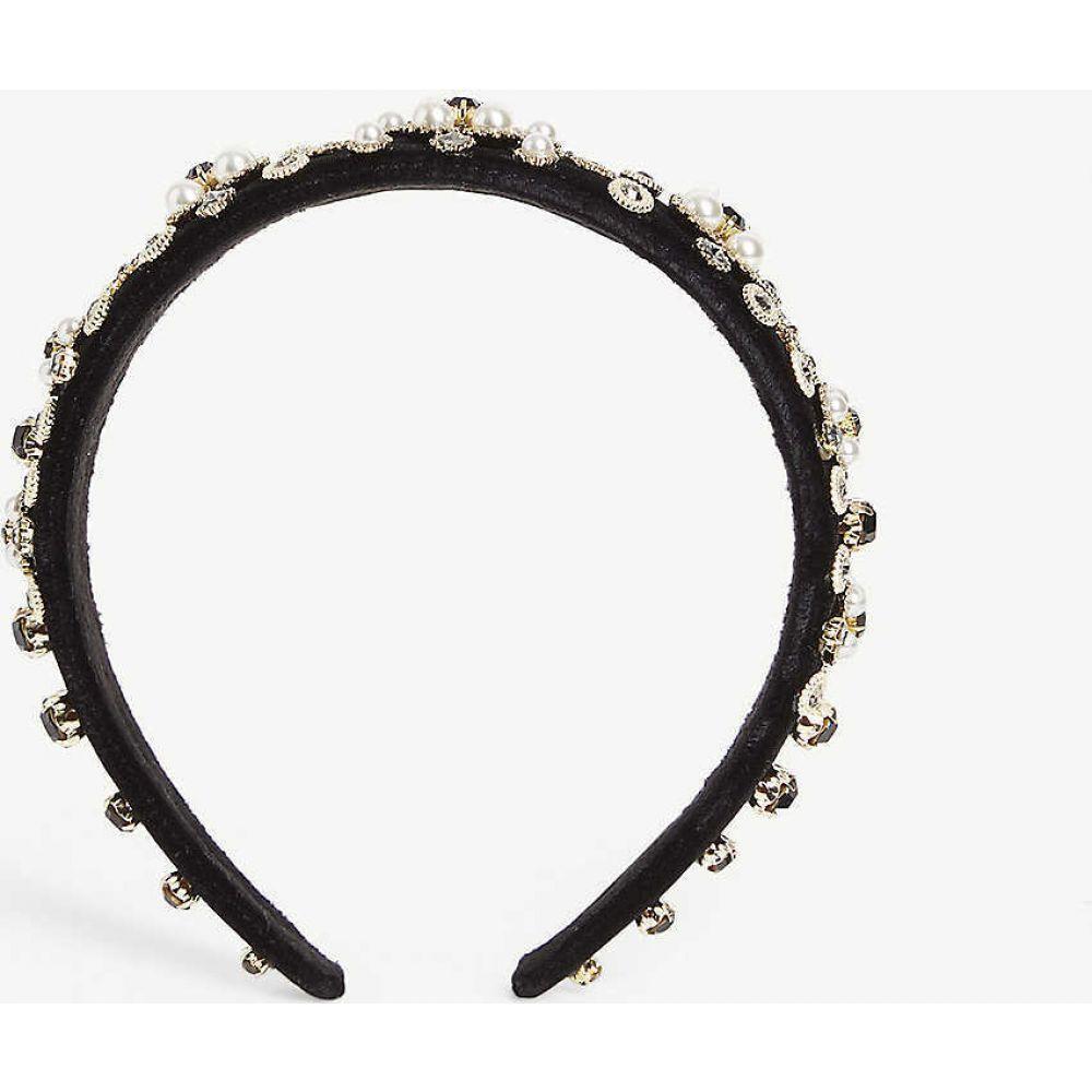 パークサイド ロンドン PARKSIDE LONDON レディース ヘアアクセサリー ヘッドバンド【Wide pearl and crystal headband】Pearl & Black