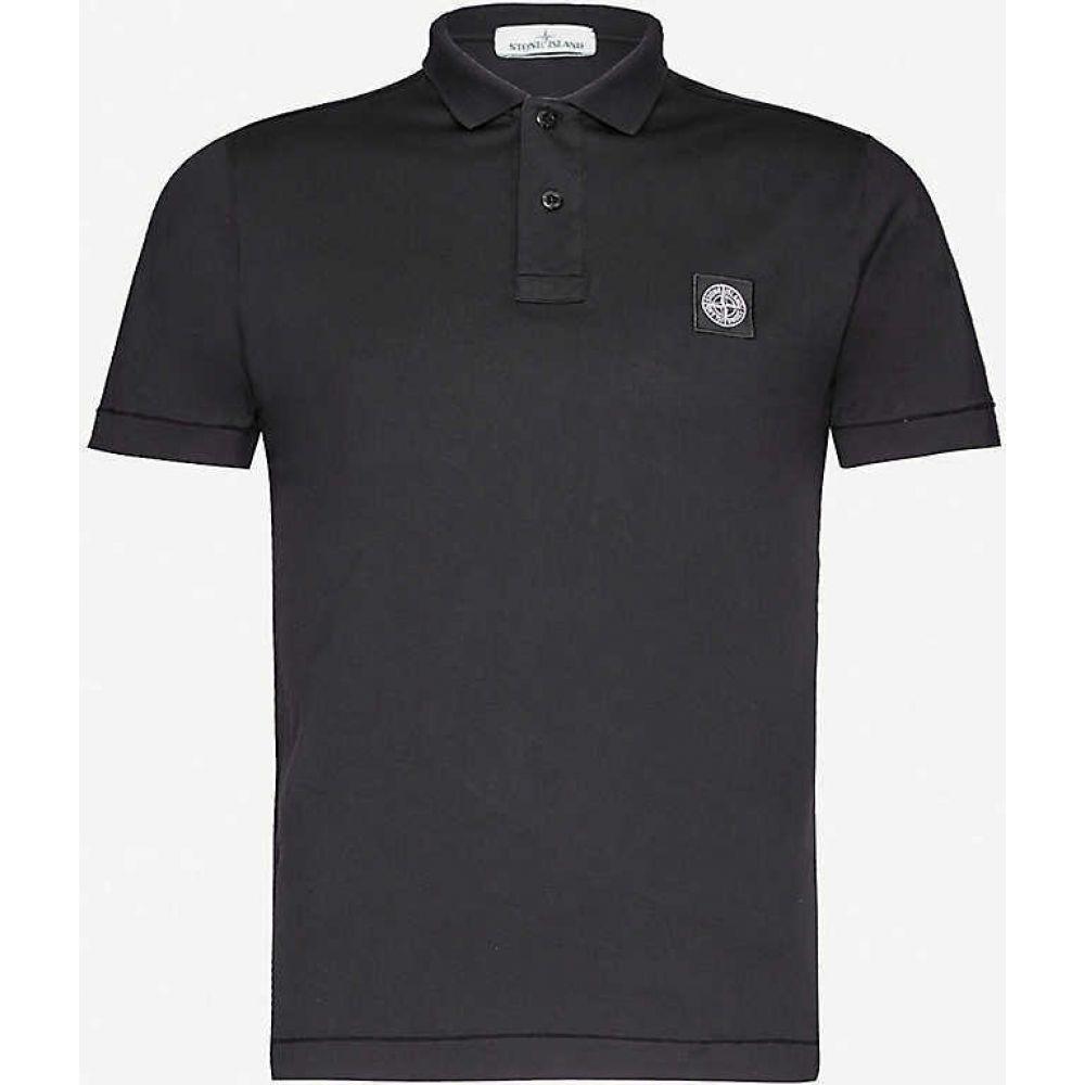 ストーンアイランド STONE ISLAND メンズ ポロシャツ トップス【Logo-embroidered cotton-jersey polo shirt】BLACK