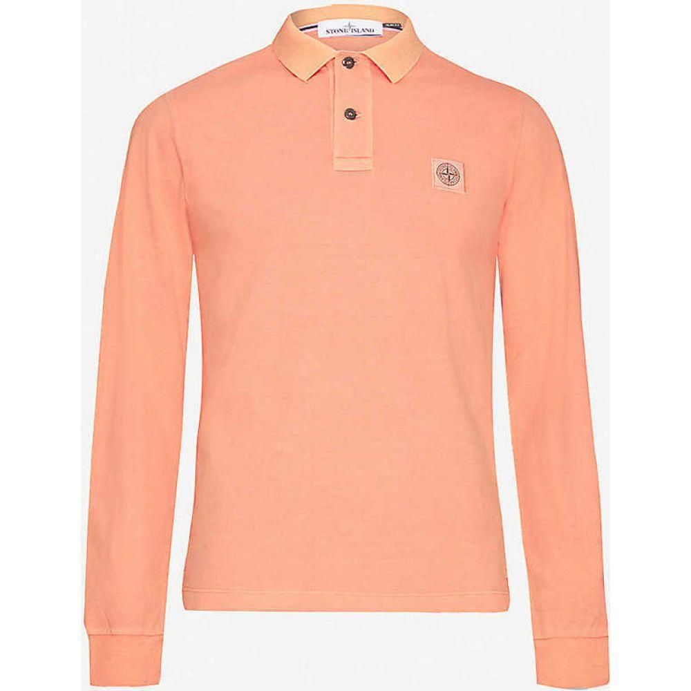 ストーンアイランド STONE ISLAND メンズ ポロシャツ トップス【Logo-print cotton-pique polo shirt】Orange Red