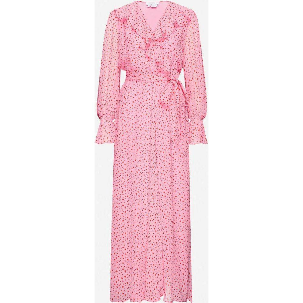 ゴースト GHOST レディース ワンピース ラップドレス ワンピース・ドレス【Su heart-printed chiffon wrap dress】Pink