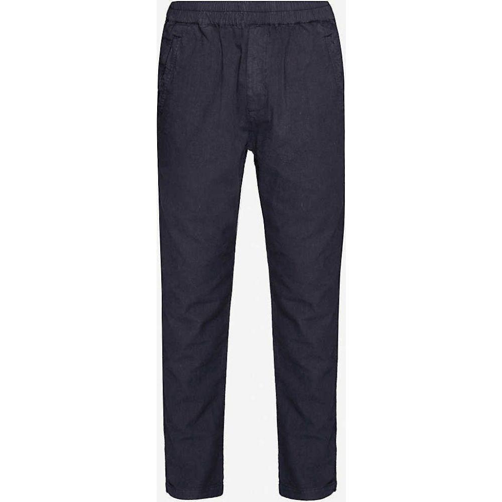 フォーク FOLK メンズ ボトムス・パンツ 【Regular-fit straight-leg linen and cotton-blend trousers】Summer Navy