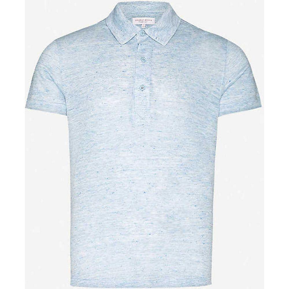 オールバー ブラウン ORLEBAR BROWN メンズ ポロシャツ トップス【Sebastian tailored-fit linen polo shirt】Sea Breeze Melange