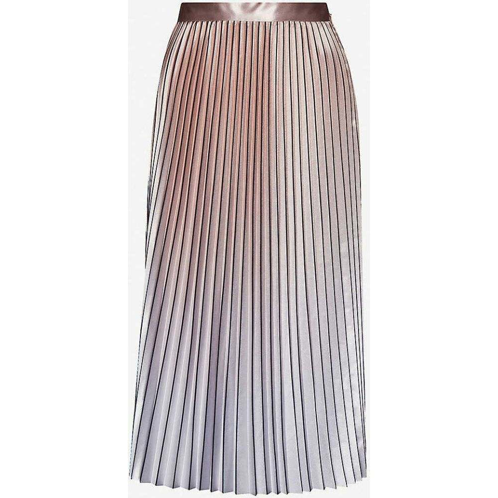リース REISS レディース ひざ丈スカート スカート【Betty metallic pleated satin-crepe skirt】PINK