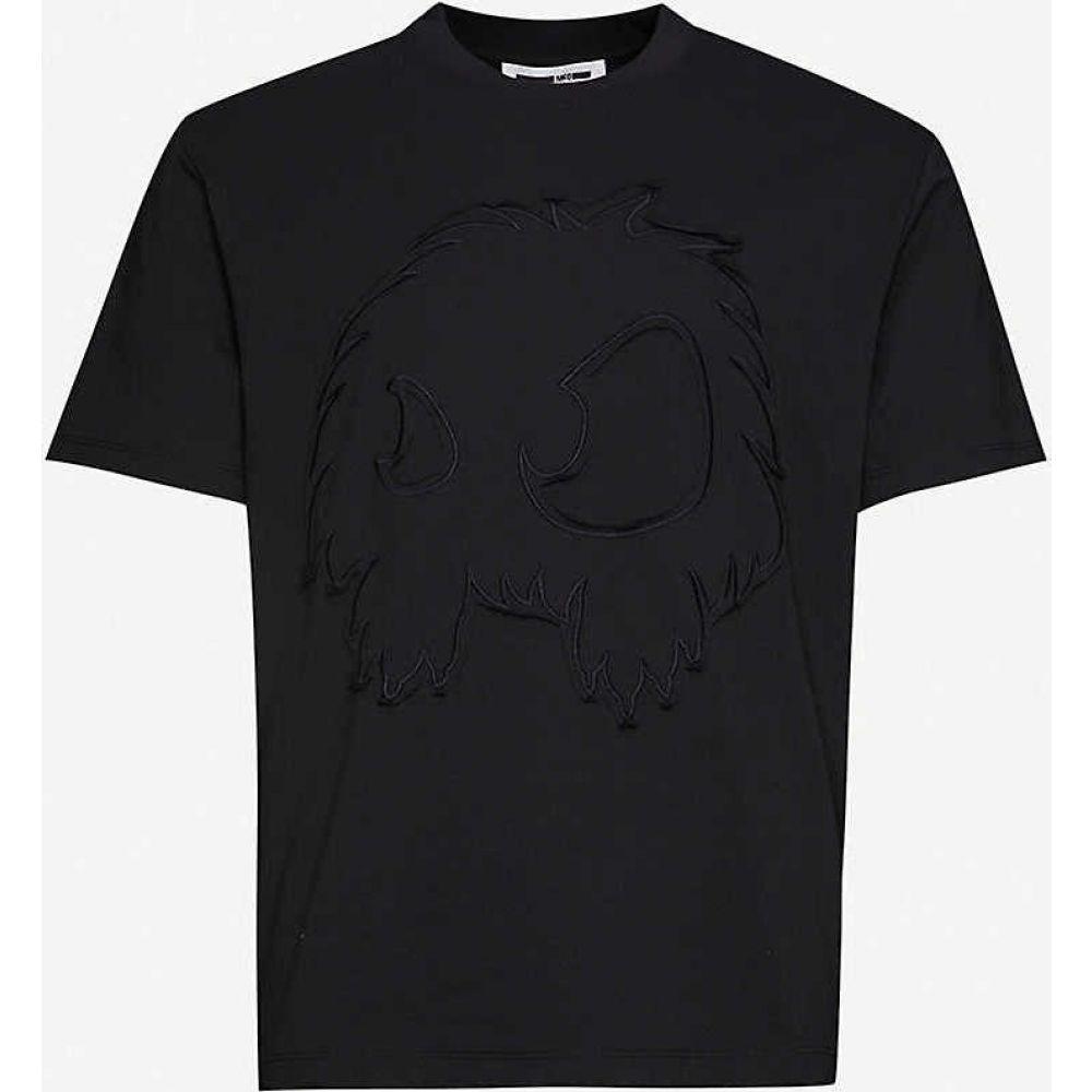 アレキサンダー マックイーン MCQ ALEXANDER MCQUEEN メンズ Tシャツ トップス【Graphic-embroidered cotton-jersey T-shirt】DARKEST BLACK