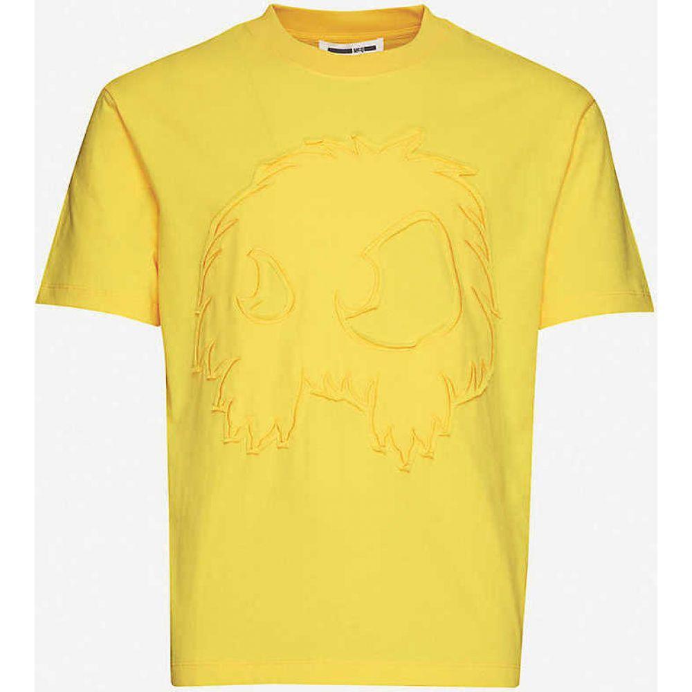 アレキサンダー マックイーン MCQ ALEXANDER MCQUEEN メンズ Tシャツ トップス【Graphic-embroidered cotton-jersey T-shirt】Yellow Ochre