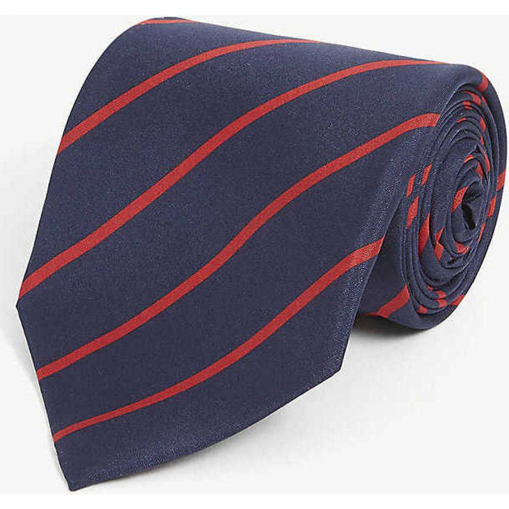 ラルフ ローレン RALPH LAUREN PURPLE LABEL メンズ ネクタイ 【Stripe-print silk tie】Navy/red