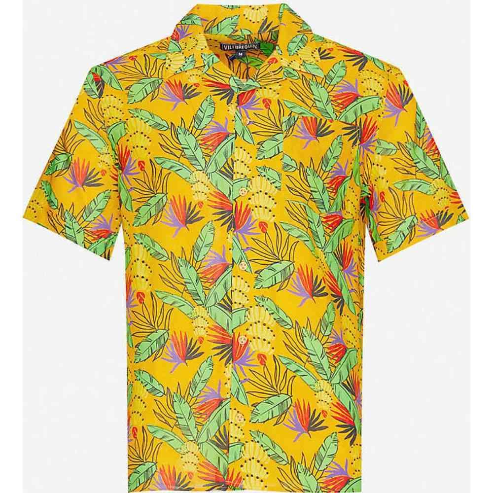 ヴィルブレクイン VILEBREQUIN メンズ シャツ トップス【Graphic-print cotton and linen-blend shirt】CURRY