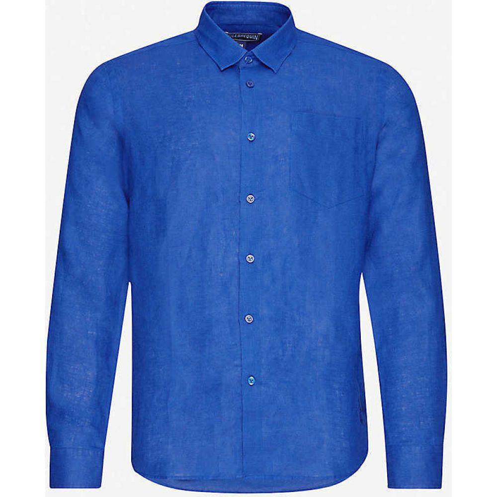 ヴィルブレクイン VILEBREQUIN メンズ シャツ トップス【Caroubis regular-fit linen shirt】Batik Blue