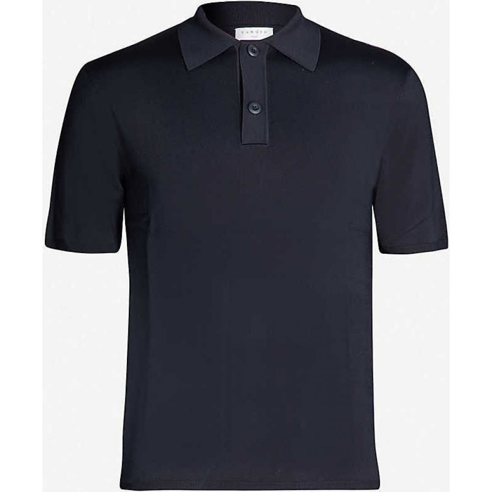 サンドロ SANDRO メンズ ポロシャツ トップス【Fine stretch-knit polo shirt】NAVY BLUE