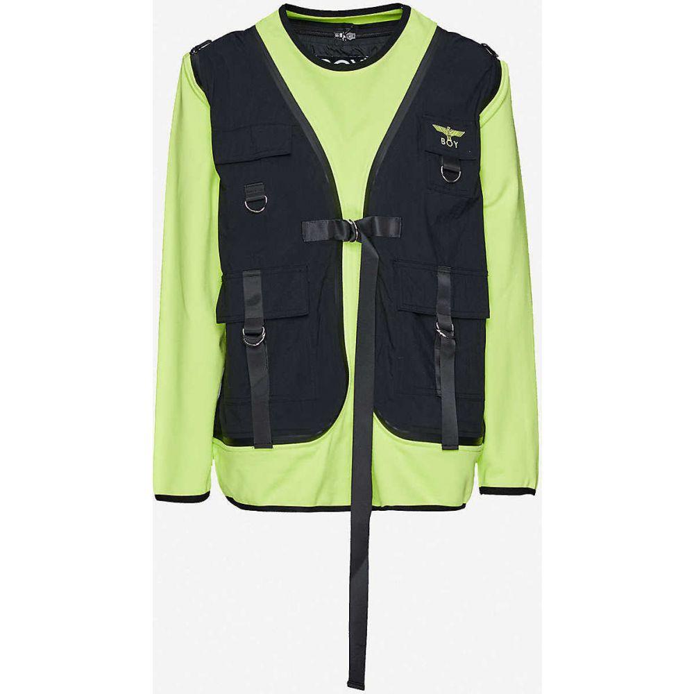 ボーイロンドン BOY LONDON レディース ジャケット アウター【Vest-overlay cotton-jersey and shell jumper】BLACK