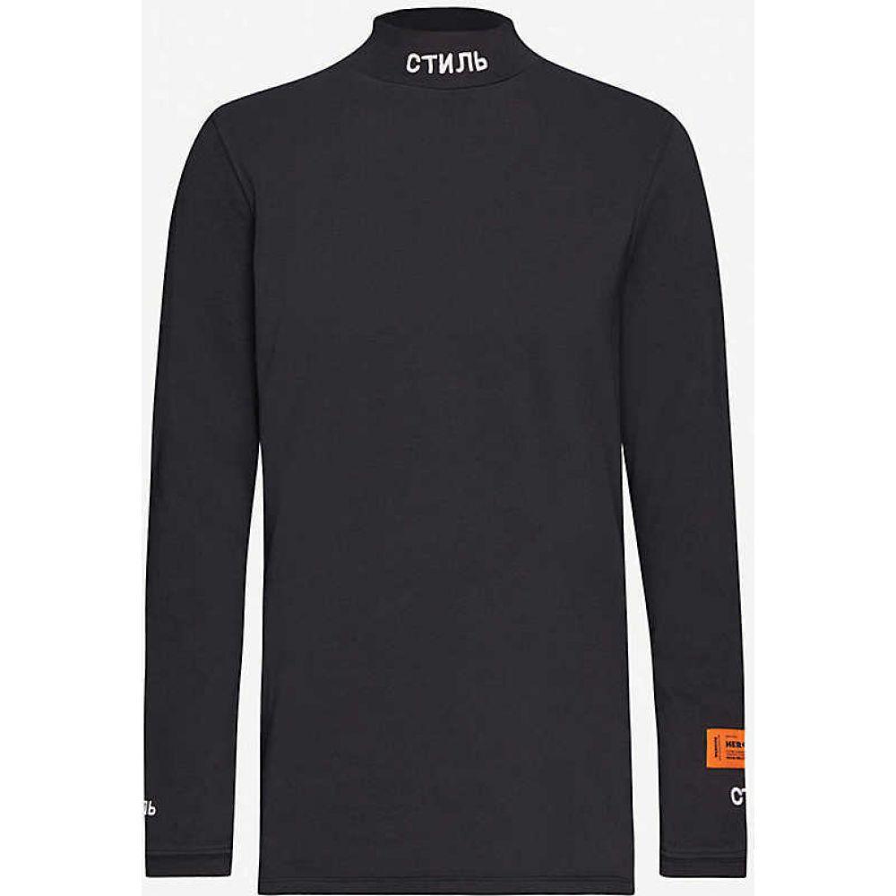 ヘロン プレストン HERON PRESTON レディース トップス 【Branded-turtleneck cotton-jersey top】BLACK
