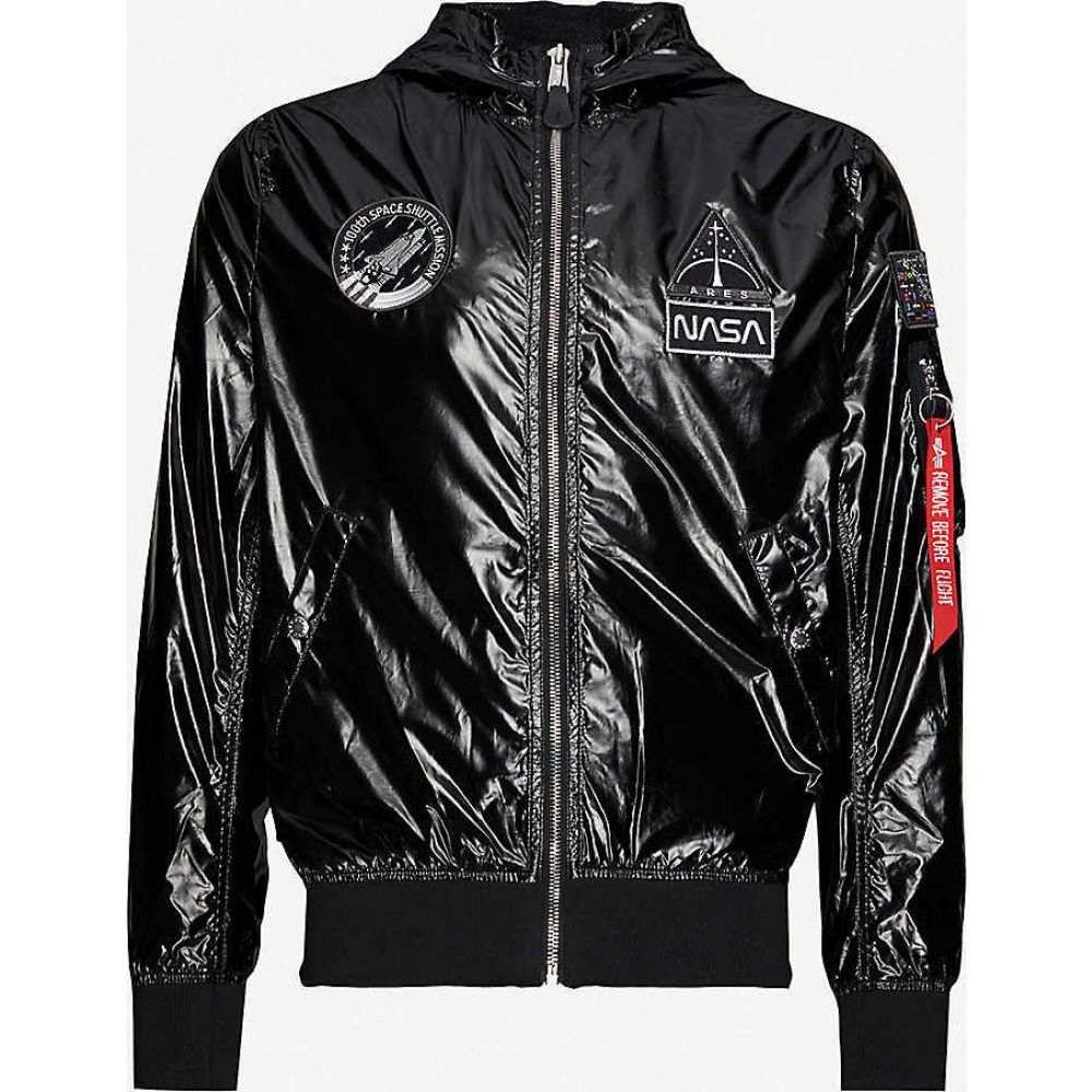 アルファ インダストリーズ ALPHA INDUSTRIES メンズ ブルゾン ミリタリージャケット シェルジャケット アウター【MA-1 NASA metallic shell bomber jacket】BLACK