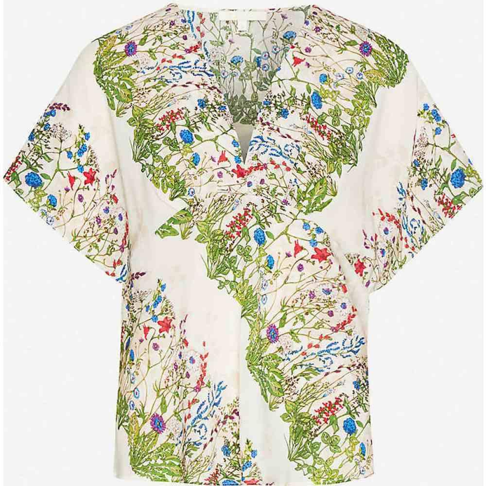 マージュ MAJE レディース トップス 【Liviere floral-print silk-crepe top】ECRU GREEN