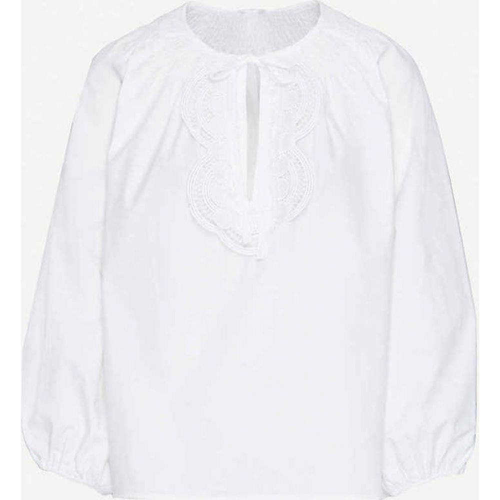 クローディ ピエルロ CLAUDIE PIERLOT レディース ブラウス・シャツ トップス【Blanche smocked crochet-panel cotton-poplin top】WHITE