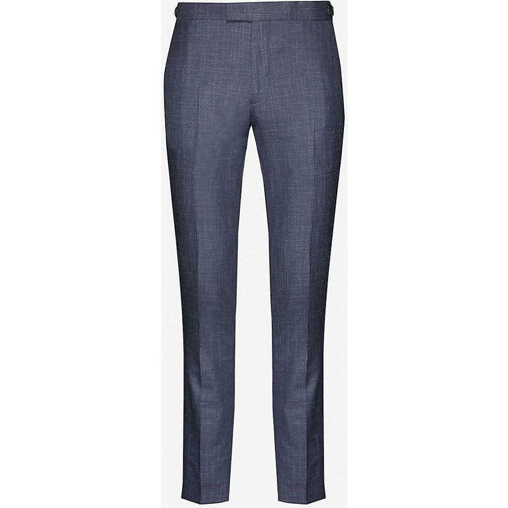 リース REISS メンズ スラックス ボトムス・パンツ【Potosi slim-fit wool, silk and linen-blend trousers】INDIGO