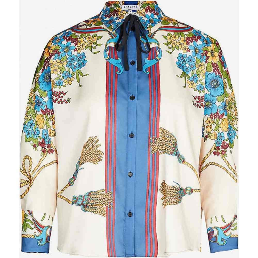 クローディ ピエルロ CLAUDIE PIERLOT レディース ブラウス・シャツ トップス【Bow-detail printed twill shirt】Print