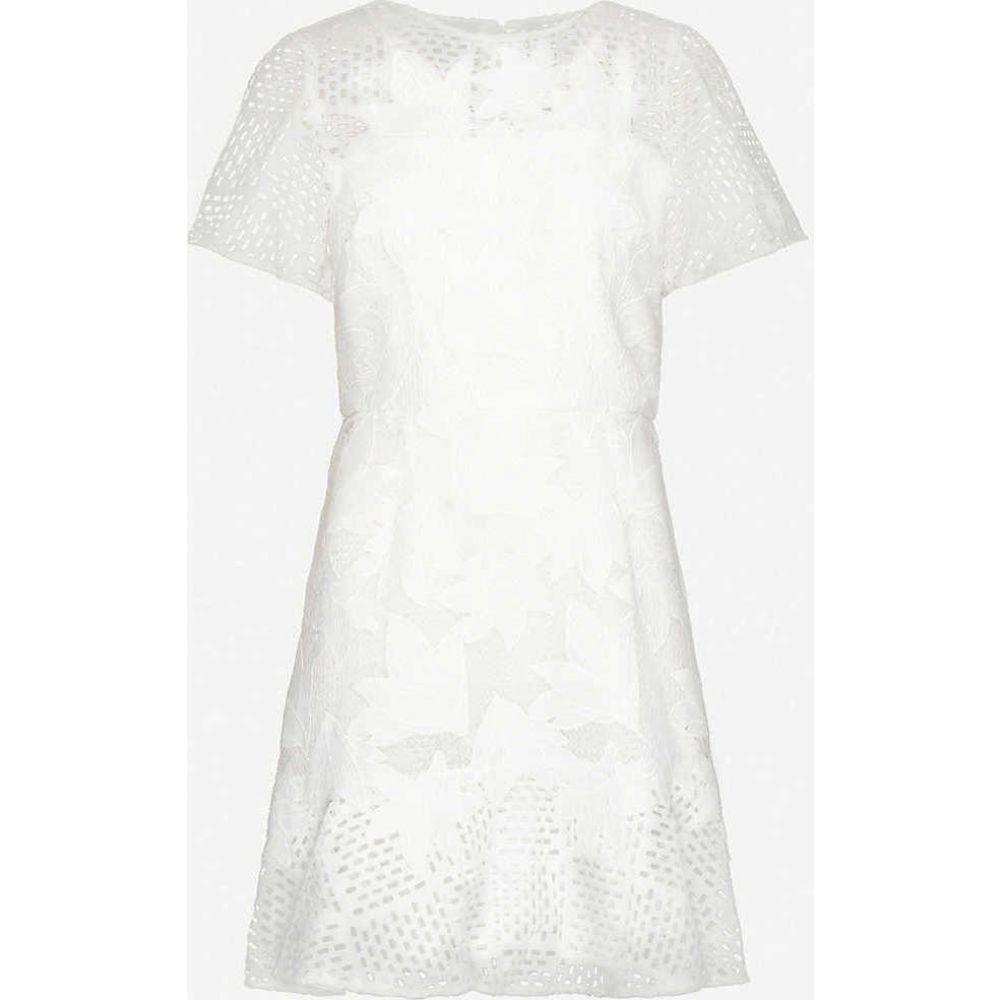 リース REISS レディース ワンピース ミニ丈 ワンピース・ドレス【Darmara floral lace-embroidered woven mini dress】WHITE