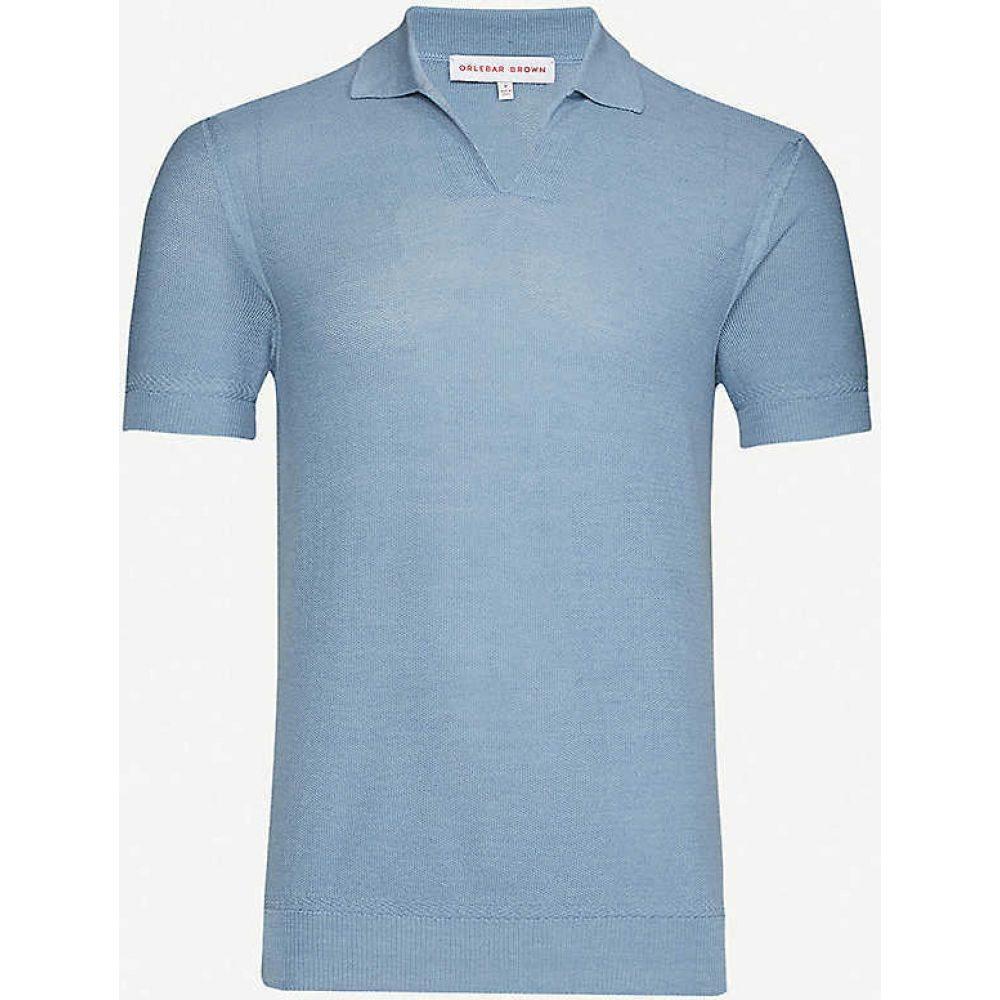 オールバー ブラウン ORLEBAR BROWN メンズ ポロシャツ トップス【Mallory silk and cotton-blend knit polo shirt】Sea Breeze