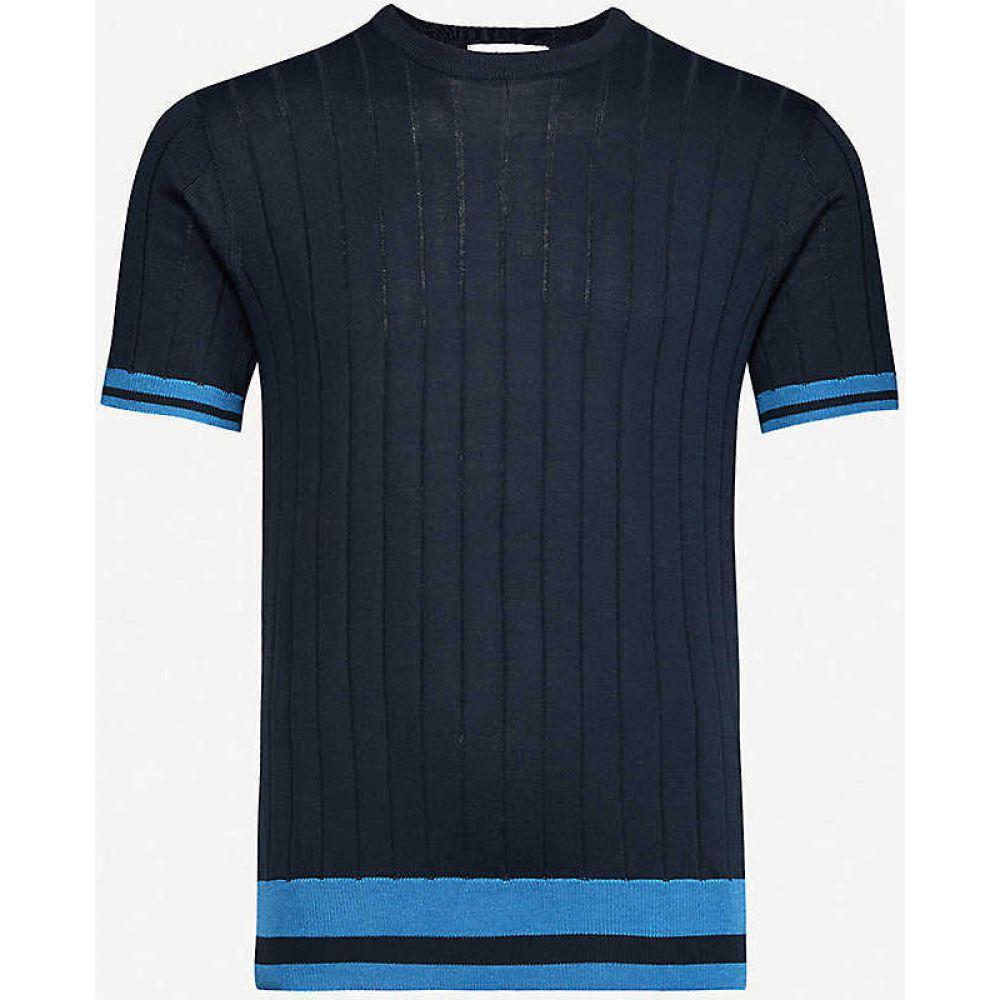 オールバー ブラウン ORLEBAR BROWN メンズ Tシャツ トップス【Lyre silk and cotton-blend T-shirt】Navy/sea Breeze