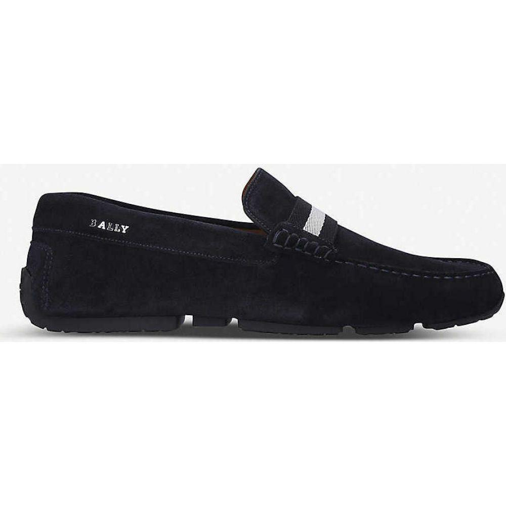 バリー BALLY メンズ ローファー シューズ・靴【Pearce grosgrain-trim suede loafers】NAVY