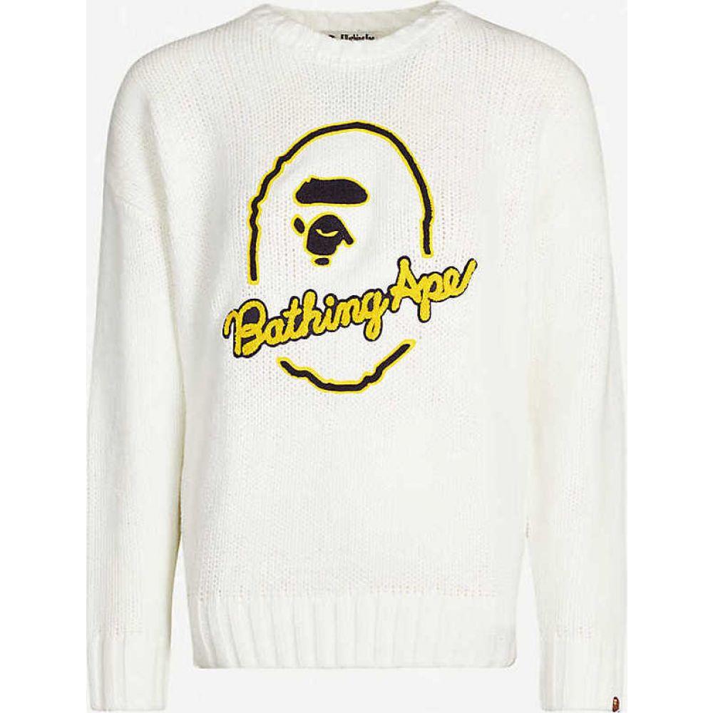 ベイプ BAPE レディース ニット・セーター トップス【Logo-embroidered knitted jumper】WHITE