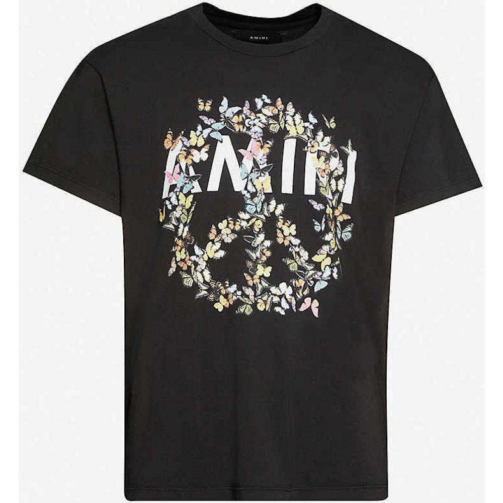 アミリ AMIRI メンズ Tシャツ トップス【Butterfly crewneck cotton-jersey T-shirt】BLACK
