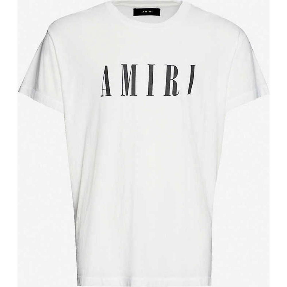 アミリ AMIRI メンズ Tシャツ トップス【Brand-print crewneck cotton-jersey T-shirt】Ivory Black