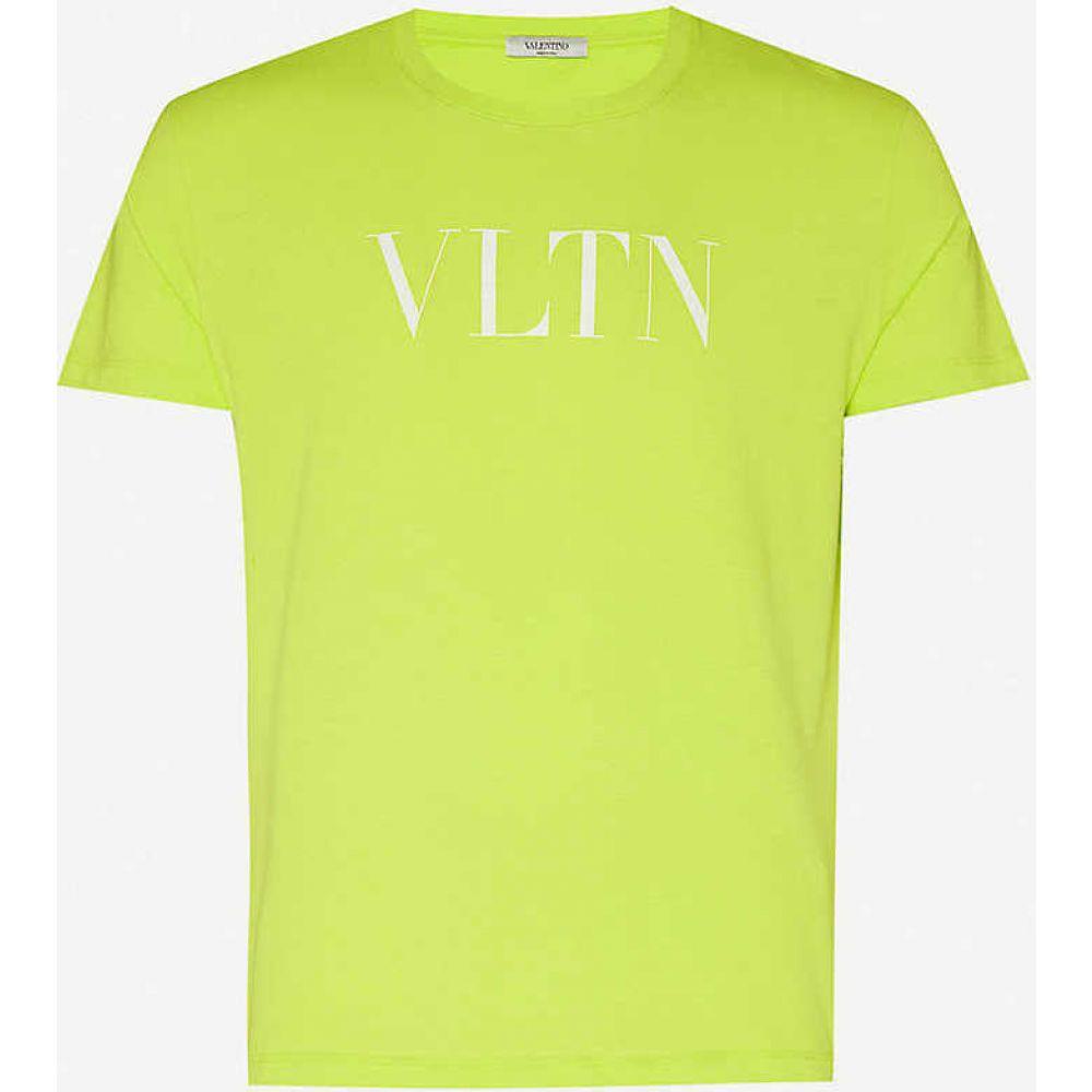 ヴァレンティノ VALENTINO メンズ Tシャツ トップス【Logo-print cotton-jersey T-shirt】Yellow Fluo