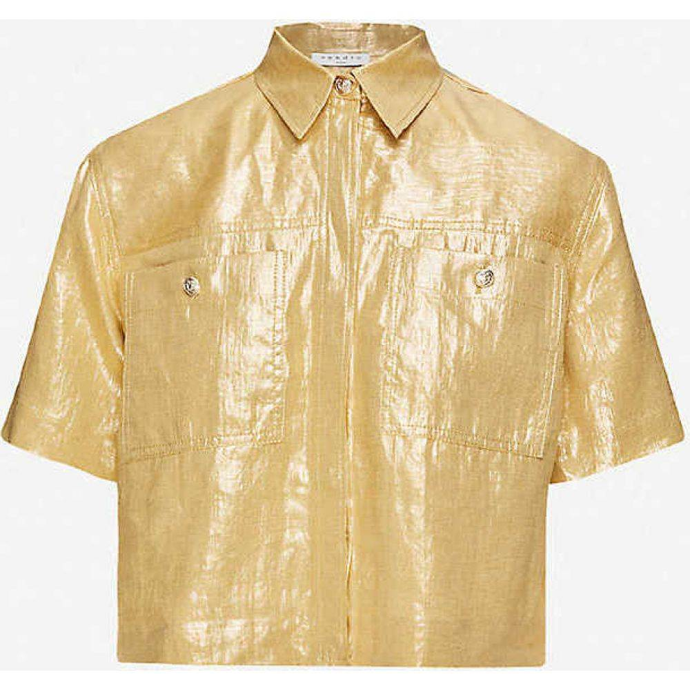 サンドロ SANDRO レディース ブラウス・シャツ トップス【Noy textured linen shirt】GOLD