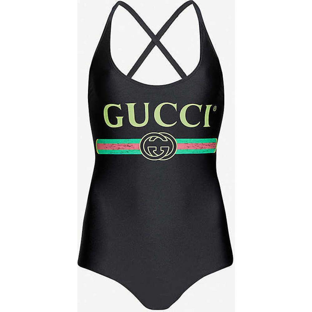 グッチ GUCCI レディース ボディースーツ インナー・下着【Brand-print crossover stretch-jersey body】BLACK MULTICOLOR