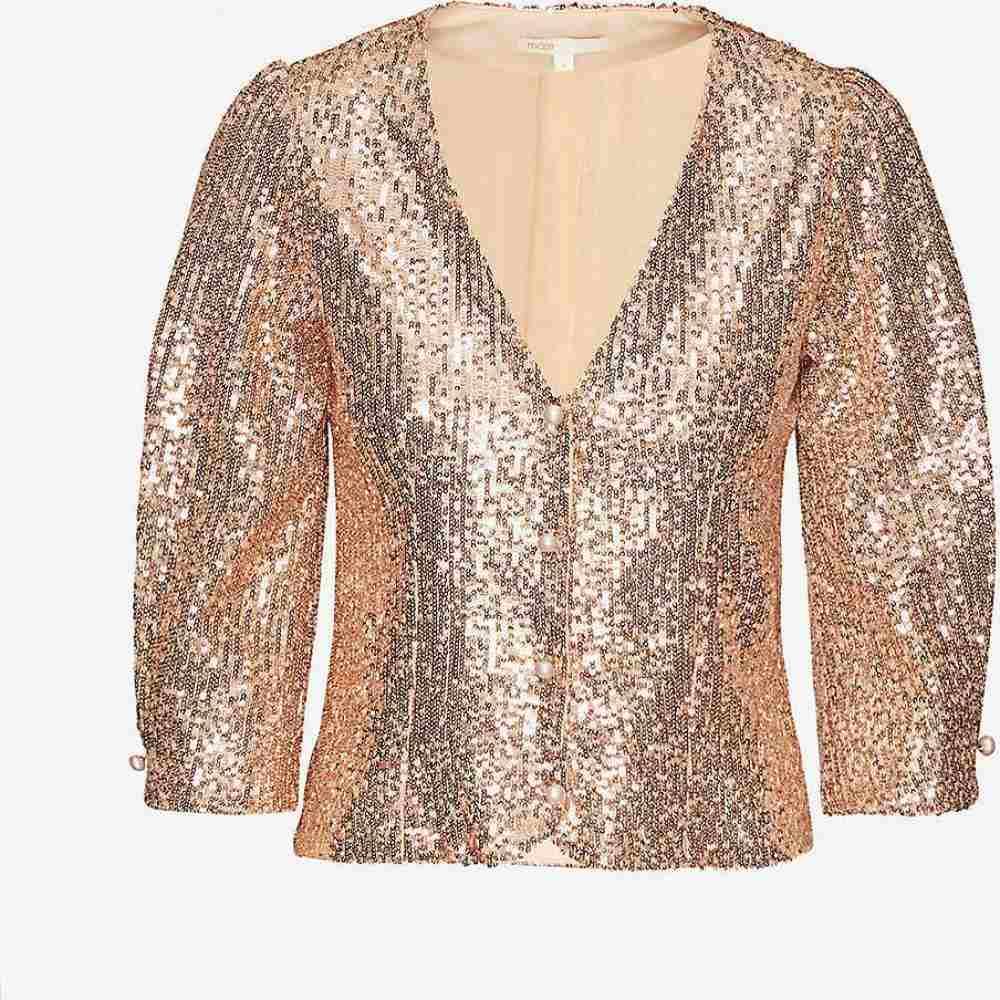 マージュ MAJE レディース ブラウス・シャツ トップス【Lipailette embellished sequin blouse】METAL PINK